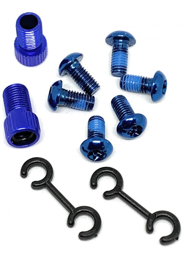 All Bicycle T Alloy Bolts Blue M5 x 10mm pack of 6pcs + 2 Presta Adaptor