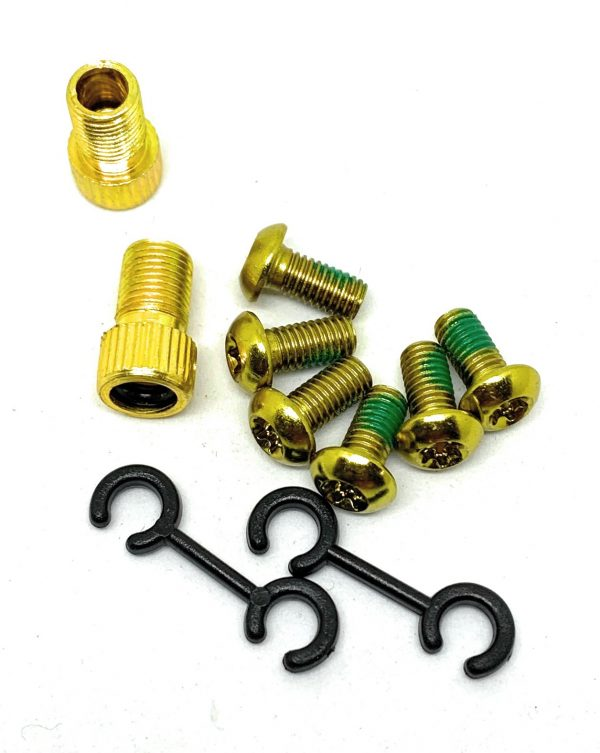 All Bicycle T Alloy Bolts Yellow M5 x 10mm pack of 6pcs + 2 Presta Adaptor