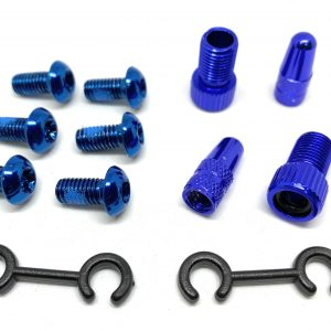 T Alloy Bolts Blue M5 x 10mm pack of 6pcs + 2 Presta Adaptor+ 2 presta caps.