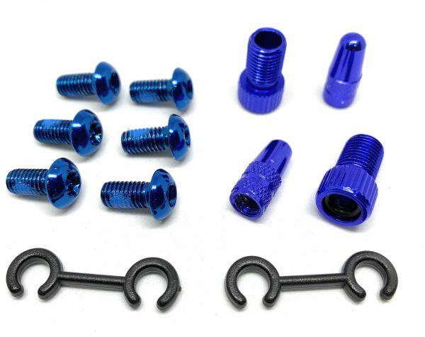 T Alloy Bolts Blue M5 x10mm pack of 6pcs + 2 Presta Adaptor+ 2 presta caps.