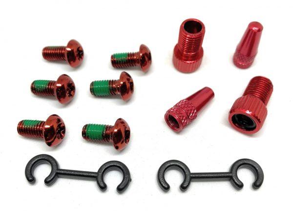 T Alloy Bolts Red M5 x10mm pack of 6pcs + 2 Presta Adaptor+ 2 presta caps.